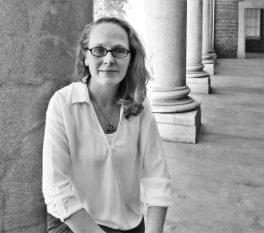 A. L. Kahler author image, woman, eyeglasses, black and white